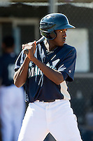 Seattle Mariners minor league outfielder Gabriel Guerrero #19 during an instructional league game against the Kansas City Royals at the Peoria Sports Complex on October 2, 2012 in Peoria, Arizona.  (Mike Janes/Four Seam Images)