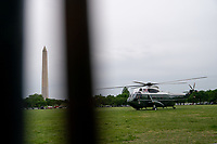 Marine One, carrying U.S. President Joe Biden and First Lady Jill Biden prepares to take off from the Ellipse of the White House in Washington, D.C., U.S., on Monday, May 3, 2021. Biden's $4 trillion vision of remaking the federal government's role in the U.S. economy is now in the hands of Congress, where both parties see a higher chance of at least some compromise than for the administration's pandemic-relief bill. <br /> Credit: Erin Scott / Pool via CNP /MediaPunch