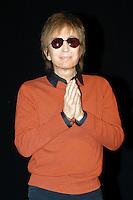 MICHAEL CIMINO.Travel in the American cinema, Park of Music, .Auditorium Rome, Italy, April 14th 2007..half length sunglasses hands praying orange jumper top black shirt.CAP/CAV.©Luca Cavallari/Capital Pictures.