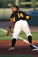 Bradenton Marauders first baseman Edwin Espinal (14) waits for a throw during a game against the Charlotte Stone Crabs on April 22, 2015 at McKechnie Field in Bradenton, Florida.  Bradenton defeated Charlotte 7-6.  (Mike Janes/Four Seam Images)