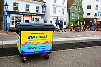 BNPS.co.uk (01202 558833)<br /> Pic: Hubbub/BNPS<br /> <br /> Pictured: A wheely bin in Poole.<br /> <br /> Litter dropped in Britain's most popular seaside resort reduced by 75 per cent this summer thanks to a new project using drone technology. <br /> <br /> The first-of-its kind survey identified alarming litter patterns along Bournemouth beach in Dorset with a staggering 123,000 bits of litter discarded in just one week.<br /> <br /> The data was then used to target the worst areas with strategic bin placement.