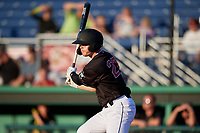 Batavia Muckdogs Troy Johnston (27) bats during a NY-Penn League game against the West Virginia Black Bears on June 27, 2019 at Dwyer Stadium in Batavia, New York.  West Virginia defeated Batavia 6-5 in ten innings.  (Mike Janes/Four Seam Images)