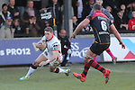 Ulster fullback Craig Gilroy dives over to score his second try of the match.<br /> Guinness Pro12<br /> Gwent Dragons v Ulster<br /> 08.03.15<br /> ©Steve Pope - SPORTINGWALES