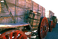 Death Valley National Park, California, CA, USA - Twenty Mule Team Wagons from 1880's on Display at the Harmony Borax Works, near Furnace Creek