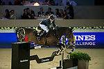 Simon Delestre on Stardust Quinhon competes during Longines Speed Challenge at the Longines Masters of Hong Kong on 20 February 2016 at the Asia World Expo in Hong Kong, China. Photo by Li Man Yuen / Power Sport Images