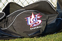 A USA Baseball equipment bag sits on the grass near the bullpen at Sims Legion Park on June 30, 2011 in Gastonia, North Carolina.  Team USA defeated the Grizzlies 12-5.  Brian Westerholt / Four Seam Images
