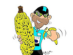 Race leader Mark Cavendish (GBR) Etixx-Quick Step eats his fill of bananas his prize for winning Stage 2 of the 2015 Presidential Tour of Turkey running 182km from Alanya to Antalya. Marty MacDonald, 43, spends his days in Turkey providing the Host Feed English race commentary, and his evenings designing and drawing caricatures of the cyclists. 27th April 2015.<br /> Photo: Tour of Turkey/Marty MacDonald/www.newsfile.ie