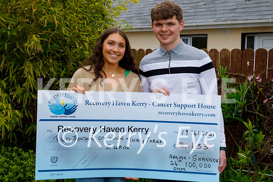 Shannon Foley and Adrian Murphy who walked 100k steps over 18 hours on St Patrick's Day and raised € 2,133 for Recovery Haven, presented the cheque on Monday at the Recovery Haven centre in Tralee.