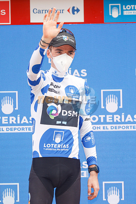 Romain Bardet (FRA) Team DSM retains the mountains Polka Dot Jersey at the end of Stage 15 of La Vuelta d'Espana 2021, running 197.5km from Navalmoral de la Mata to El Barraco, Spain. 29th August 2021.     <br /> Picture: Luis Angel Gomez/Photogomezsport | Cyclefile<br /> <br /> All photos usage must carry mandatory copyright credit (© Cyclefile | Luis Angel Gomez/Photogomezsport)