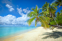 The white sandy beach at Amuri, Aitutaki Island, Cook Islands