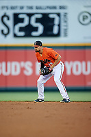 Richmond Flying Squirrels second baseman Dillon Dobson (28) during a game against the Trenton Thunder on May 11, 2018 at The Diamond in Richmond, Virginia.  Richmond defeated Trenton 6-1.  (Mike Janes/Four Seam Images)
