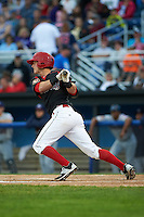 Batavia Muckdogs outfielder Brandon Rawe (22) at bat during a game against the Mahoning Valley Scrappers on July 3, 2015 at Dwyer Stadium in Batavia, New York.  Batavia defeated Mahoning Valley 7-4.  (Mike Janes/Four Seam Images)