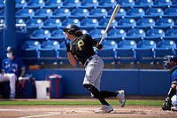 Pittsburgh Pirates Cole Tucker (3) bats during a Major League Spring Training game against the Toronto Blue Jays on March 1, 2021 at TD Ballpark in Dunedin, Florida.  (Mike Janes/Four Seam Images)