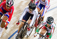 06 DEC 2014 - STRATFORD, LONDON, GBR - Laura Trott (GBR) (centre) from Great Britain races in the pack during the women's Omnium 10km Scratch Race at the 2014 UCI Track Cycling World Cup at the Lee Valley Velo Park in Stratford, London, Great Britain (PHOTO COPYRIGHT © 2014 NIGEL FARROW, ALL RIGHTS RESERVED)