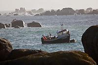 Europe/France/Bretagne/29/Finistère/  Kerlouan: Côte rocheuse à Ménéham et caseyeur au retour de pêche