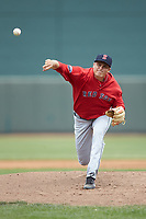 Salem Red Sox starting pitcher Jake Thompson (41) delivers a pitch to the plate against the Winston-Salem Dash at BB&T Ballpark on April 22, 2018 in Winston-Salem, North Carolina.  The Red Sox defeated the Dash 6-4 in 10 innings.  (Brian Westerholt/Four Seam Images)