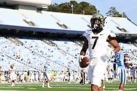 CHAPEL HILL, NC - NOVEMBER 14: Donavon Greene #7 of Wake Forest scores a touchdown during a game between Wake Forest and North Carolina at Kenan Memorial Stadium on November 14, 2020 in Chapel Hill, North Carolina.