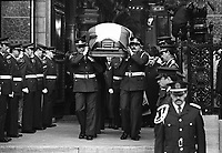 November 1987 File  Photo. Quebec City (Quebec) CANADA<br /> Provincial policemen carries Rene Levesque (Quebec Premier) coffin out of the church at his funerals in Quebec city, November 1987<br /> Photo (c) P Roussel / Images Distribution - Rene Levesque