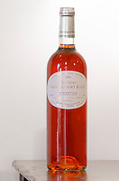 Rose wine. Chateau Villerambert-Julien near Caunes-Minervois. Minervois. Languedoc. France. Europe. Bottle.