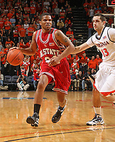 NC State's C.J. Williams_Virginia held North Carolina State scoreless for more than 7 minutes on the way to a 59-47 victory Wednesday night at the John Paul Jones Arena in Charlottesville, VA. Virginia (14-6, 5-2 Atlantic Coast Conference) regained a share of first place in the conference. (Photo/Andrew Shurtleff)....