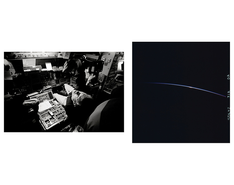 Black and white image copyright John Angerson. STS-72 mission training<br /> <br /> Public Domain Image.<br /> NASA images Courtesy National Archives - Record Group number: 255-STS-STS072