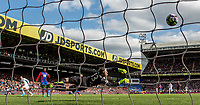 Jamie Vardy of Leicester City score past Goalkeeper Wayne Hennessey of Crystal Palace during the English Premier League match between Crystal Palace and Leicester City at Selhurst Park, London, England on the 15th April 2017. Photo by Liam McAvoy.