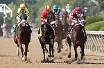 Horses head for the first turn in the Black-Eyed Susan Stakes, May 20, 2011 at Pimlico Race Course, Baltimore, MD. From left, Buster's Ready, Wyomia, eventual winner Royal Delta, Love Theway Youare, and Hot Summer. (Photo by Joan Fairman Kanes/Eclipse Sportswire)