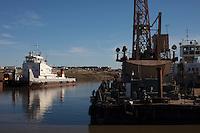 Yamal Peninsula, Russia, 08/07/2010..Old river port facilities at the Gazprom Yamal Bovanenkovo gasfield project.
