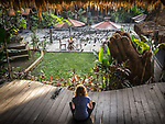 6 DECEMBER, 2019 BALI, INDONESIA:  Cera Grady relaxes before a class in the serene grounds of The Yoga Barn in Ubud, Bali. There has been a levelling out of Australian tourist numbers to Bali in recent times and tastes are changing regarding what people want from their holiday. Millennials are being targeted by tourism authorities and they want to give them more boutique experiences than just beach and beer. Picture by Graham Crouch/The Australian