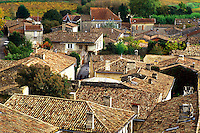 Saint Emilion, France, Bordeaux Wine Region, Gironde, Aquitaine, Europe, The rooftops of the medieval village of St. Emilion.