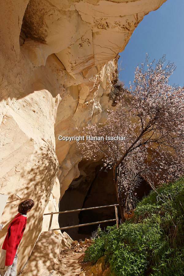 Israel, Shephelah region. The entrance to the Bell cave in Beth Guvrin