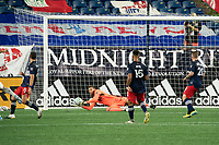 FOXBOROUGH, UNITED STATES - AUGUST 20: Matt Turner #30 of New England Revolution save a shot on goal during a game between Philadelphia Union and New England Revolution at Gilette on August 20, 2020 in Foxborough, Massachusetts.