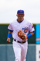 Iowa Cubs shortstop Addison Russell (3) jogs to the dugout between innings during a Pacific Coast League game against the San Antonio Missions on May 2, 2019 at Principal Park in Des Moines, Iowa. Iowa defeated San Antonio 8-6. (Brad Krause/Four Seam Images)