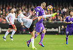 Joao Cancelo (l) of Valencia CF battles for the ball with Karim Benzema of Real Madrid during their La Liga match between Valencia CF and Real Madrid at the Estadio de Mestalla on 22 February 2017 in Valencia, Spain. Photo by Maria Jose Segovia Carmona / Power Sport Images
