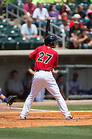 Joey DeMichele (27) of the Birmingham Barons at bat against the Tennessee Smokies at Regions Field on May 4, 2015 in Birmingham, Alabama.  The Barons defeated the Smokies 4-3 in 13 innings. (Brian Westerholt/Four Seam Images)