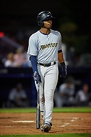 Trenton Thunder Isiah Gilliam (24) bats during an Eastern League game against the Reading Fightin Phils on August 16, 2019 at FirstEnergy Stadium in Reading, Pennsylvania.  Trenton defeated Reading 7-5.  (Mike Janes/Four Seam Images)