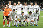 Real Madrid's team photo up fltr, Pepe, Sergio Ramos, Raul Albiol, Xabi Alonso, Karim Benzema and Kaka. Down fltr Iker Casillas, Marcelo, Raul, Esteban Granero and Lass Diarra during Champions League match. October 21, 2009. (ALTERPHOTOS/Alvaro Hernandez).