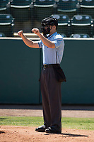 Home plate umpire Andrew Barrett during a California League game between the Stockton Ports and the Visalia Rawhide at Visalia Recreation Ballpark on May 9, 2018 in Visalia, California. Stockton defeated Visalia 4-2. (Zachary Lucy/Four Seam Images)