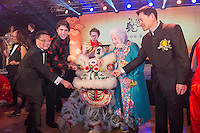 """Canadian Prime Minister Justin Trudeau and former Mississauga mayor Hazel McCallion (in blue dress on right of dragon) attend the 27th Annual Dragon Ball Gala in celebration of the Chinese New Year,<br />  February 6, 2016.<br /> Moment during """"eye-dotting"""" ceremony.<br /> PHOTO : J. Adam Huggins - Agence Quebec Presse"""