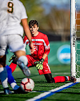 26 October 2019: University of Massachusetts Lowell River Hawk Goalkeeper Zach Rowell, a Graduate from Haverhill, MA, in second half action against the University of Vermont Catamounts at Virtue Field in Burlington, Vermont. The Catamounts rallied to defeat the River Hawks 2-1, propelling the Cats to the America East Division 1 conference playoffs. Mandatory Credit: Ed Wolfstein Photo *** RAW (NEF) Image File Available ***