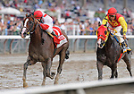 Currency Swap (no. 1), ridden by Rajiv Maragh and trained by Teresa Pompay, wins the 107th running of the grade 1 Hopeful Stakes for two year olds on September 5, 2011 at Saratoga Race Track in Saratoga Springs, New York.  (Bob Mayberger/Eclipse Sportswire)