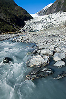 Franz Josef Glacier with a terminus and Waiho River - Westland National Park, West Coast, New Zealand