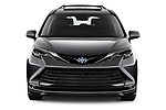 Car photography straight front view of a 2021 Toyota Sienna Platinum 5 Door Minivan Front View