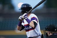 Duke Ellis (11) of the Winston-Salem Rayados at bat against the Llamas de Hickory at Truist Stadium on July 6, 2021 in Winston-Salem, North Carolina. (Brian Westerholt/Four Seam Images)