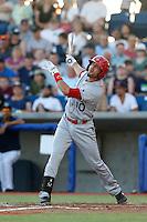 Barrett Serrato #10 of the Spokane Indians bats against the Hillsboro Hops at Hillsboro Ballpark on July 22, 2013 in Hillsboro Oregon. Spokane defeated Hillsboro, 11-3. (Larry Goren/Four Seam Images)