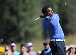 Actor Alfonso Ribeiro tees off during the American Century Championship practice round at Edgewood Tahoe Golf Course in Stateline, Nev., on Wednesday, July 15, 2015. <br /> Photo by Cathleen Allison