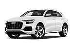 Stock pictures of low aggressive front three quarter view of 2019 Audi Q8 - 5 Door SUV Low Aggressive