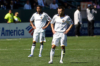 LA Galaxy's Sean Franklin (l) and Dema Kovalenko (r). The LA Galaxy and DC United play to 2-2 draw at Home Depot Center stadium in Carson, California on Sunday March 22, 2009.