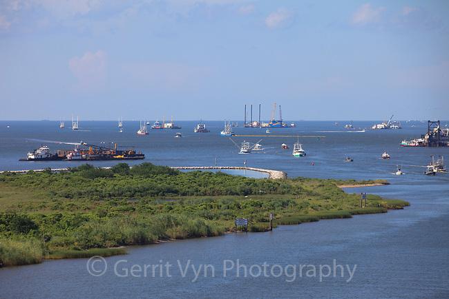 Oil spill response vessels off of Grand Isle in Barataria Bay. Jefferson Parish, Louisiana. July 2010.