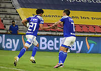 IBAGUE - COLOMBIA, 06-10-2020: Carlos Pereira  de Millonarios celebra después de anotar el primer gol de su equipo durante partido entre Deportes Tolima y Millonarios por la fecha 12 de la Liga BetPlay DIMAYOR 2020 jugado en el estadio Manuel Murillo Toro de la ciudad de Ibagué. / Carlos Pereira player of Millonarios celebrates after scoring the first goal of his team during match between Deportes Tolima and Millonarios for the date 12 as part BetPlay DIMAYOR League 2020 played at Manuel Murillo Toro stadium in Ibague city .  Photo: VizzorImage / Joan Stiven Orjuela / Cont